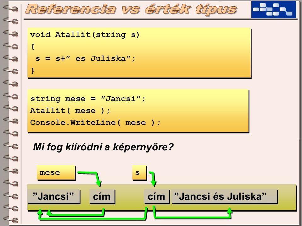 void Atallit(string s) { s = s+ es Juliska ; } void Atallit(string s) { s = s+ es Juliska ; } string mese = Jancsi ; Atallit( mese ); Console.WriteLine( mese ); string mese = Jancsi ; Atallit( mese ); Console.WriteLine( mese ); Mi fog kiíródni a képernyőre.