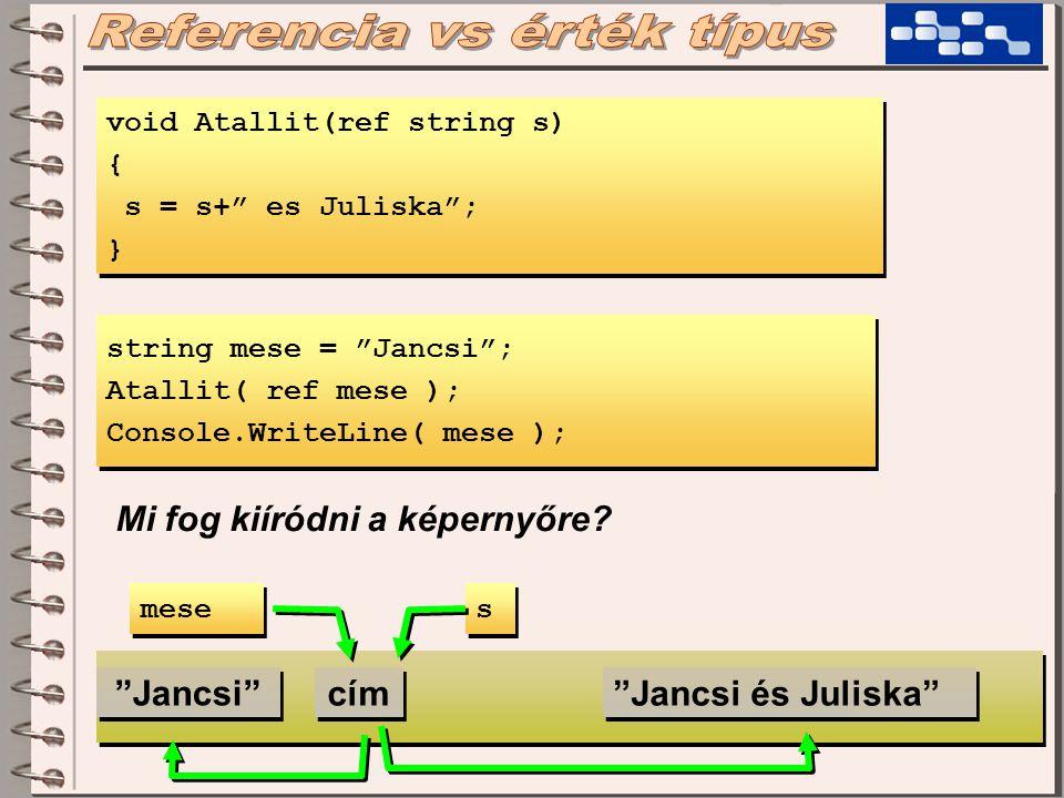void Atallit(ref string s) { s = s+ es Juliska ; } void Atallit(ref string s) { s = s+ es Juliska ; } string mese = Jancsi ; Atallit( ref mese ); Console.WriteLine( mese ); string mese = Jancsi ; Atallit( ref mese ); Console.WriteLine( mese ); Mi fog kiíródni a képernyőre.