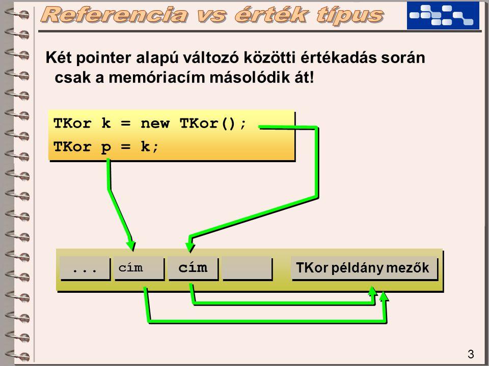 4 TKor k = new TKor(); k.sugar = 10; TKor p = k; p.sugar = 20; Console.WriteLine( k.sugar ); TKor k = new TKor(); k.sugar = 10; TKor p = k; p.sugar = 20; Console.WriteLine( k.sugar ); TKor k = new TKor(); k.sugar = 10; Beallit( k ); Console.WriteLine( k.sugar ); TKor k = new TKor(); k.sugar = 10; Beallit( k ); Console.WriteLine( k.sugar ); void Beallit( Tkor x ) { x.sugar = 25; } void Beallit( Tkor x ) { x.sugar = 25; }