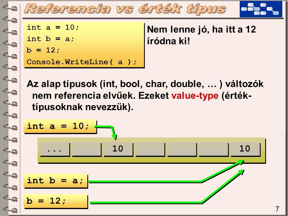 7 int a = 10; int b = a; b = 12; Console.WriteLine( a ); int a = 10; int b = a; b = 12; Console.WriteLine( a ); Nem lenne jó, ha itt a 12 íródna ki.