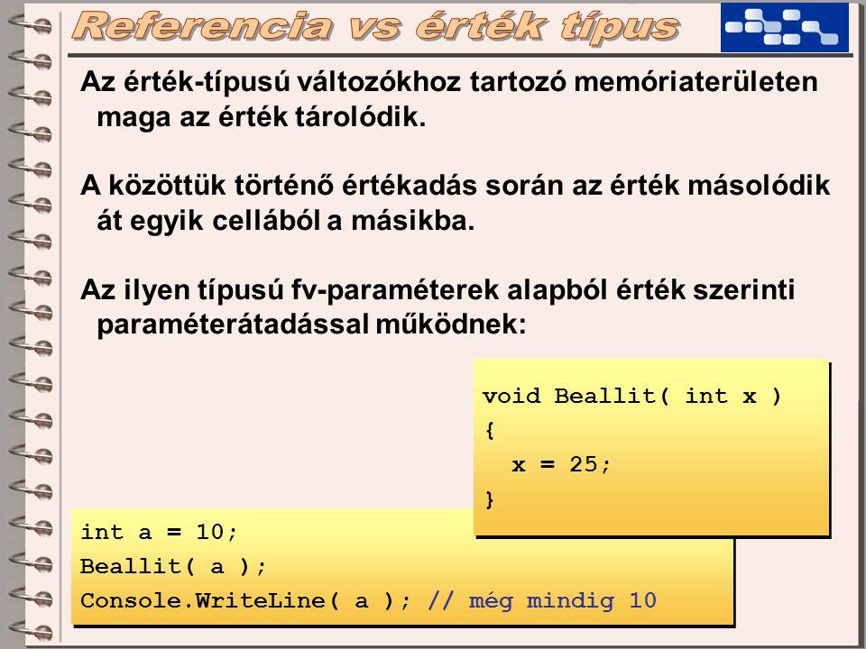 Az érték-típusú változók cím szerinti paraméterátadását a 'ref' kulcsszóval kell megjelölni: int a = 10; Beallit( ref a ); Console.WriteLine( a ); // most 25 int a = 10; Beallit( ref a ); Console.WriteLine( a ); // most 25 void Beallit( ref int x ) { x = 25; } void Beallit( ref int x ) { x = 25; }