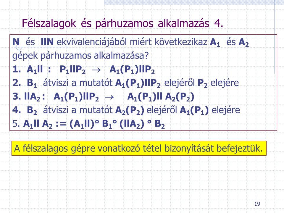 19 Félszalagok és párhuzamos alkalmazás 4. N és llN ekvivalenciájából miért következikaz A 1 és A 2 gépek párhuzamos alkalmazása? 1. A 1 ll: P 1 llP 2