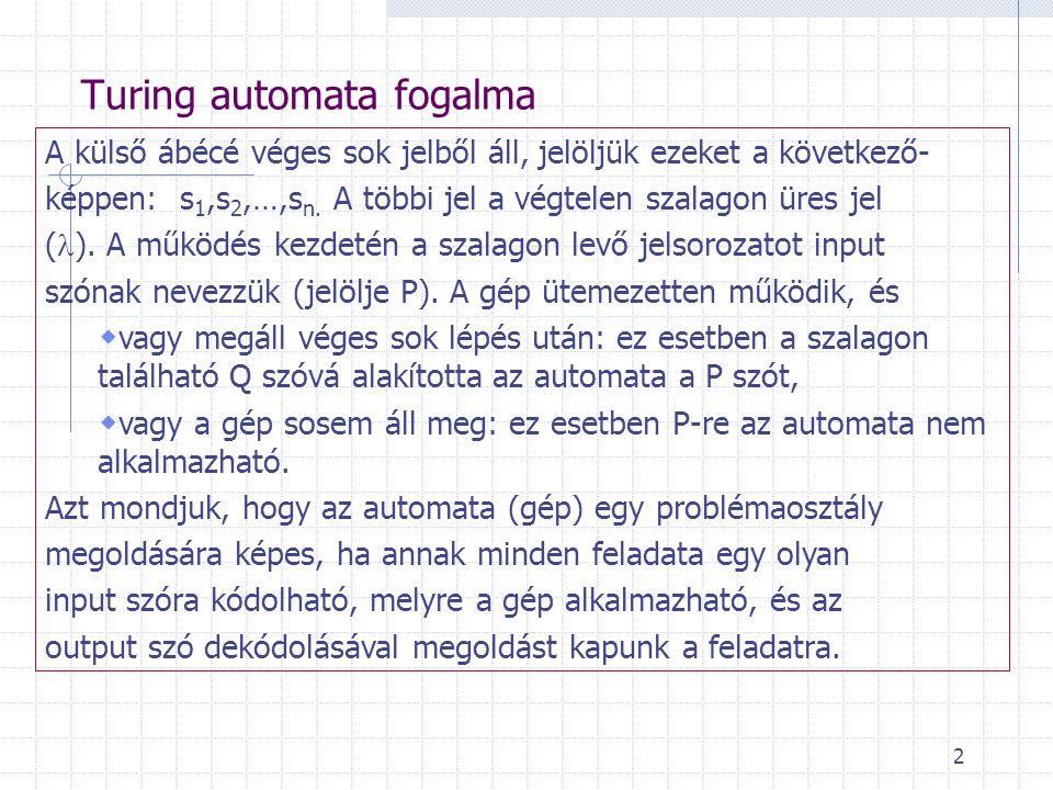 2 Turing automata fogalma A külső ábécé véges sok jelből áll, jelöljük ezeket a következő- képpen: s 1,s 2,…,s n. A többi jel a végtelen szalagon üres
