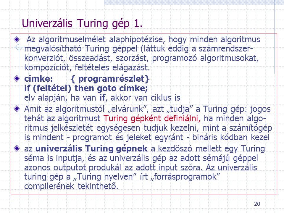 20 Univerzális Turing gép 1. Az algoritmuselmélet alaphipotézise, hogy minden algoritmus megvalósítható Turing géppel (láttuk eddig a számrendszer- ko