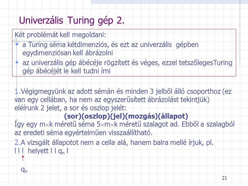 21 Univerzális Turing gép 2. Két problémát kell megoldani:  a Turing séma kétdimenziós, és ezt az univerzális gépben egydimenziósan kell ábrázolni 
