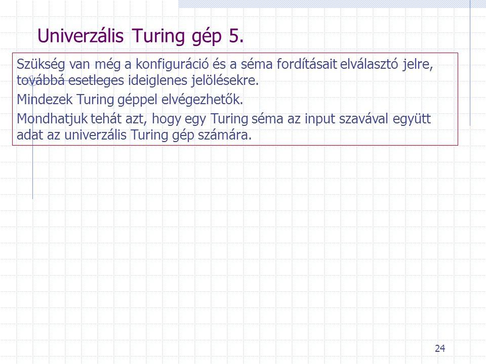 24 Univerzális Turing gép 5. Szükség van még a konfiguráció és a séma fordításait elválasztó jelre, továbbá esetleges ideiglenes jelölésekre. Mindezek