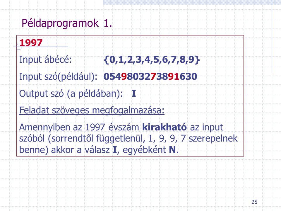 25 Példaprogramok 1. 1997 Input ábécé: {0,1,2,3,4,5,6,7,8,9} Input szó(például):0549803273891630 Output szó (a példában):I Feladat szöveges megfogalma