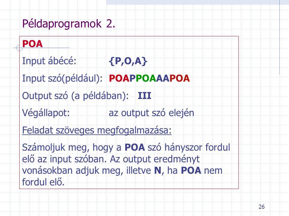 26 Példaprogramok 2. POA Input ábécé: {P,O,A} Input szó(például):POAPPOAAAPOA Output szó (a példában):III Végállapot:az output szó elején Feladat szöv