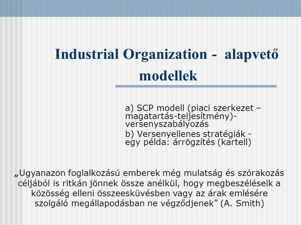 Industrial Organization - alapvető modellek a) SCP modell (piaci szerkezet – magatartás-teljesítmény)- versenyszabályozás b) Versenyellenes stratégiák