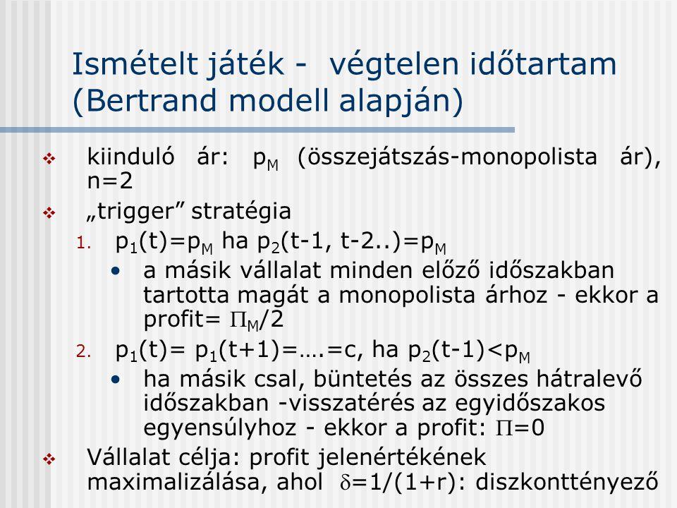 """Ismételt játék - végtelen időtartam (Bertrand modell alapján)  kiinduló ár: p M (összejátszás-monopolista ár), n=2  """"trigger"""" stratégia 1. p 1 (t)=p"""