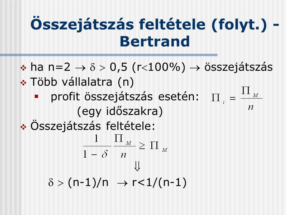 Összejátszás feltétele (folyt.) - Bertrand  ha n=2    0,5 (r100%)  összejátszás  Több vállalatra (n)  profit összejátszás esetén: (egy időszak
