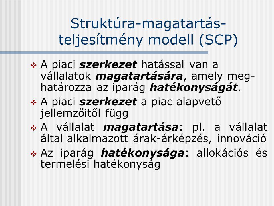 Struktúra-magatartás- teljesítmény modell (SCP)  A piaci szerkezet hatással van a vállalatok magatartására, amely meg- határozza az iparág hatékonysá