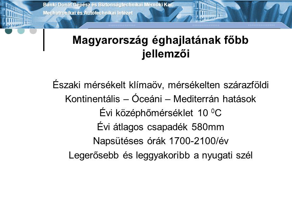 Magyarország éghajlatának főbb jellemzői Északi mérsékelt klímaöv, mérsékelten szárazföldi Kontinentális – Óceáni – Mediterrán hatások Évi középhőmérséklet 10 0 C Évi átlagos csapadék 580mm Napsütéses órák 1700-2100/év Legerősebb és leggyakoribb a nyugati szél