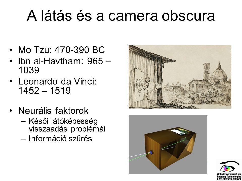 A látás és a camera obscura Mo Tzu: 470-390 BC Ibn al-Havtham: 965 – 1039 Leonardo da Vinci: 1452 – 1519 Neurális faktorok –Késői látóképesség visszaa