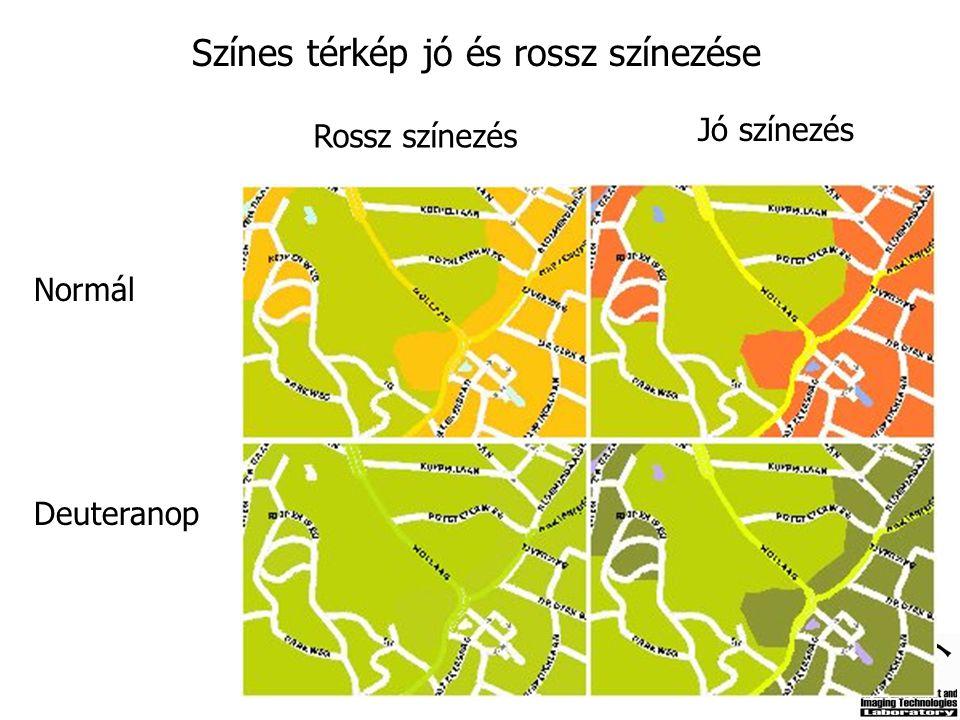 Színes térkép jó és rossz színezése Normál Deuteranop Rossz színezés Jó színezés