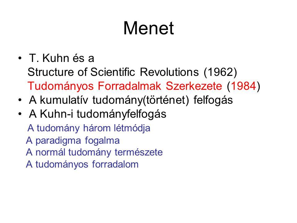 Thomas Kuhn 1922-1996 1949 PhD fizikából (Harvard) UC-Berkeley (1961) Princeton (1964) MIT (1979 --) Tudománytörténész, művek: The Copernican Revolution (1957) The Black Body Radiation (1987) Archive for the Sources of History of Quantum Mechanics Structure of Scientific Revolutions (U.