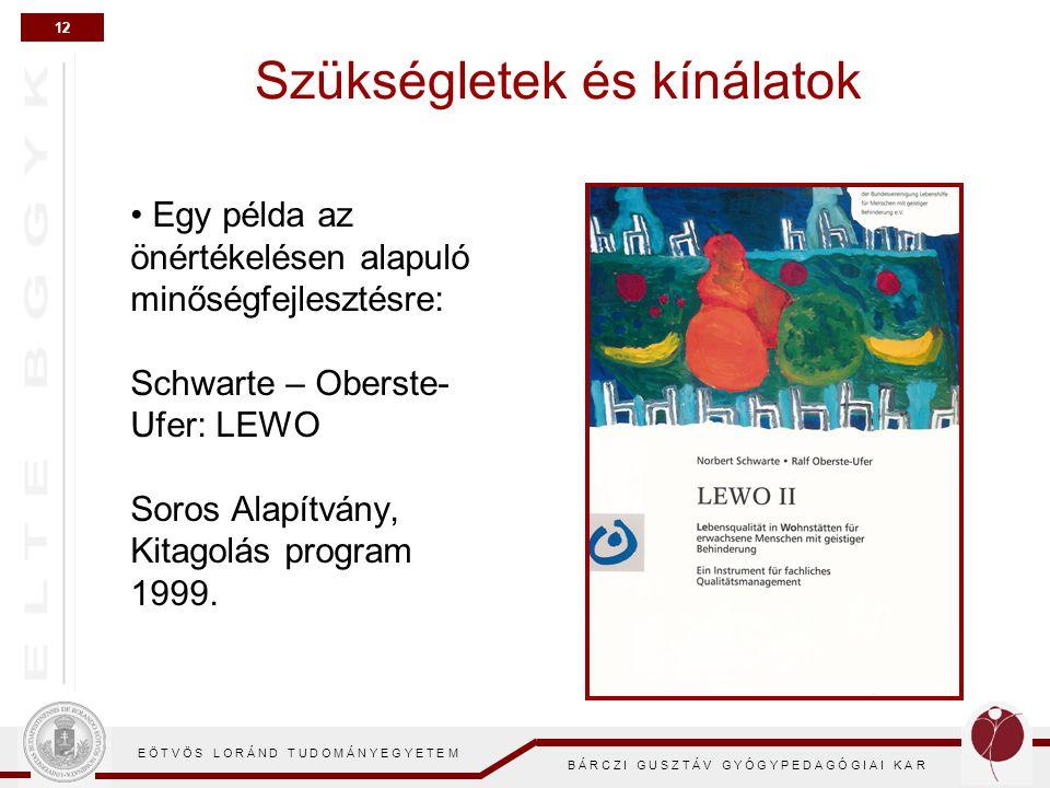 12 E Ö T V Ö S L O R Á N D T U D O M Á N Y E G Y E T E M B Á R C Z I G U S Z T Á V G Y Ó G Y P E D A G Ó G I A I K A R Szükségletek és kínálatok Egy példa az önértékelésen alapuló minőségfejlesztésre: Schwarte – Oberste- Ufer: LEWO Soros Alapítvány, Kitagolás program 1999.