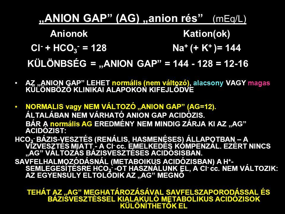 """""""ANION GAP"""" (AG) """"anion rés"""" (mEq/L) AZ """"ANION GAP"""" LEHET normális (nem változó), alacsony VAGY magas KÜLÖNBÖZŐ KLINIKAI ALAPOKON KIFEJLŐDVE NORMALIS"""