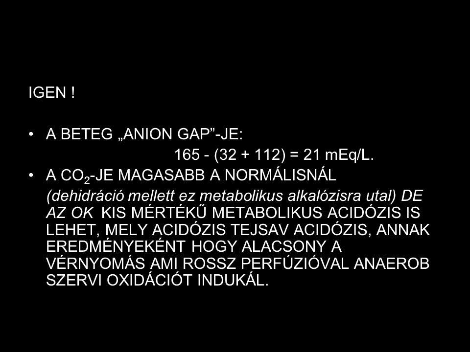 """IGEN ! A BETEG """"ANION GAP""""-JE: 165 - (32 + 112) = 21 mEq/L. A CO 2 -JE MAGASABB A NORMÁLISNÁL (dehidráció mellett ez metabolikus alkalózisra utal) DE"""