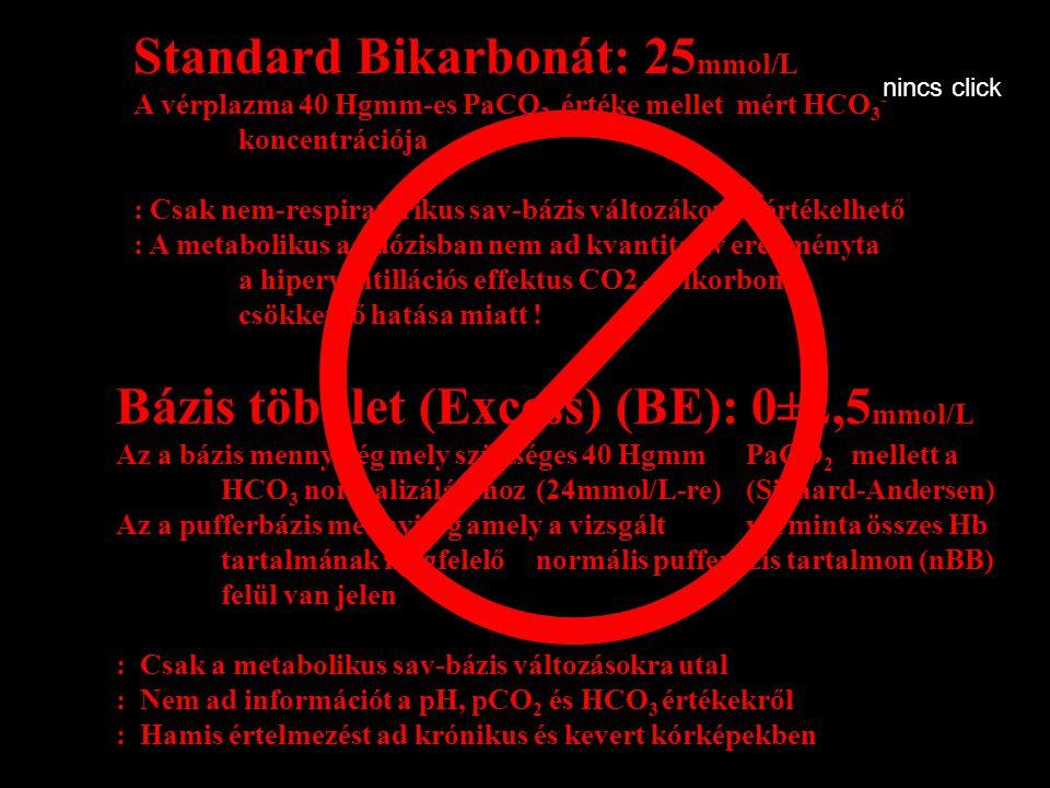 Standard Bikarbonát: 25 mmol/L A vérplazma 40 Hgmm-es PaCO 2 értéke mellet mért HCO 3 - koncentrációja : Csak nem-respiratorikus sav-bázis változákoná