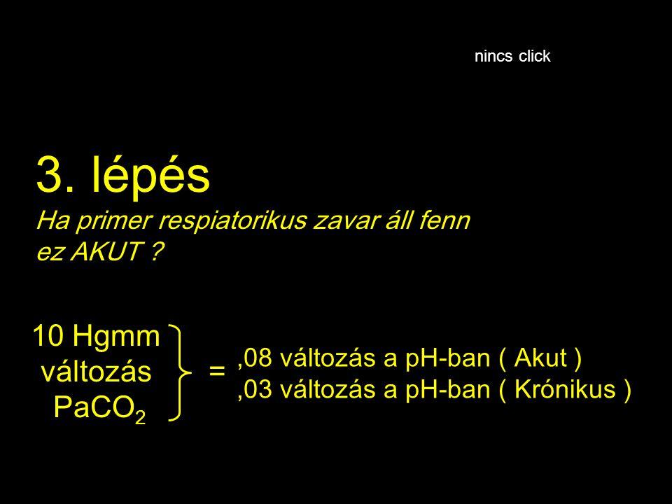3. lépés Ha primer respiatorikus zavar áll fenn ez AKUT ?,08 változás a pH-ban ( Akut ),03 változás a pH-ban ( Krónikus ) 10 Hgmm változás PaCO 2 = ni