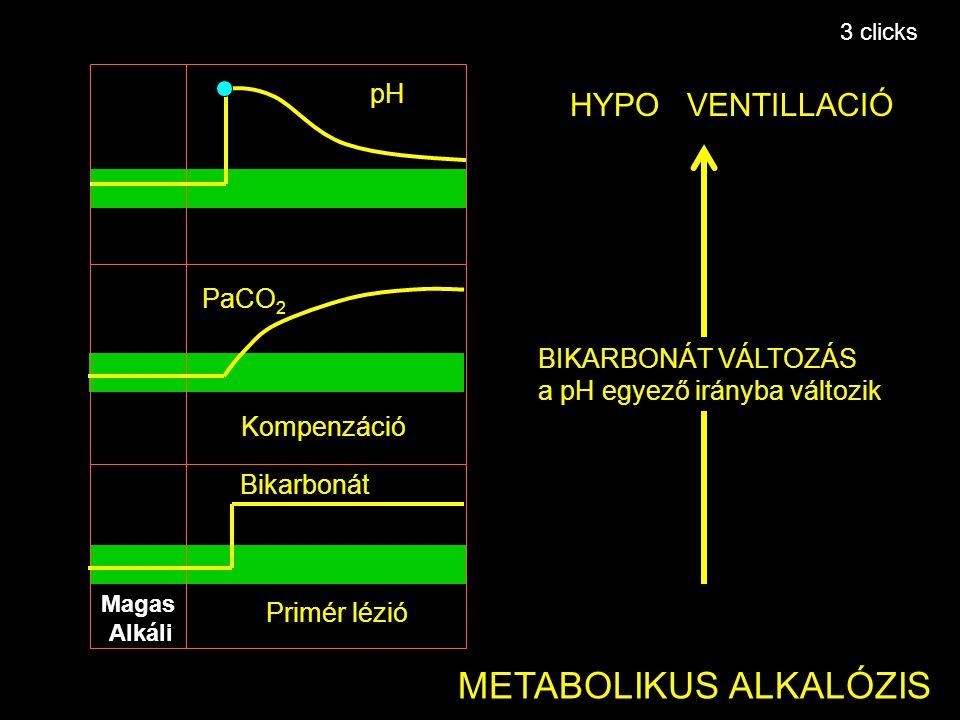 Primér lézió Kompenzáció pH Bikarbonát PaCO 2 METABOLIKUS ALKALÓZIS HYPO VENTILLACIÓ BIKARBONÁT VÁLTOZÁS a pH egyező irányba változik Magas Alkáli 3 c