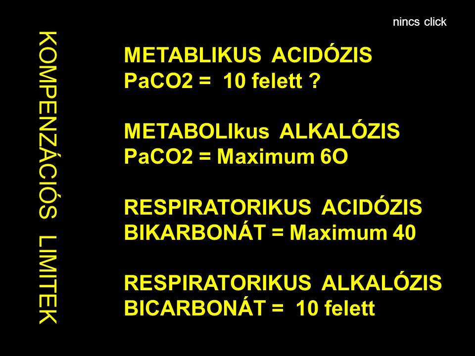 K OMPEN ZÁCIÓS LIMIT EK METABLIKUS ACIDÓZIS PaCO2 = 10 felett ? METABOLIkus ALKALÓZIS PaCO2 = Maximum 6O RESPIRATORIKUS ACIDÓZIS BIKARBONÁT = Maximum