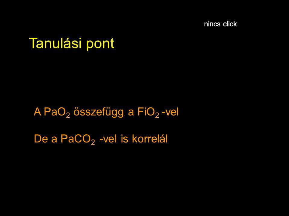 A PaO 2 összefügg a FiO 2 -vel De a PaCO 2 -vel is korrelál Tanulási pont nincs click
