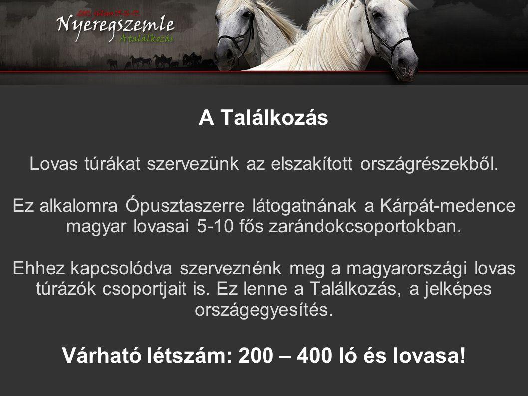 A Találkozás Lovas túrákat szervezünk az elszakított országrészekből. Ez alkalomra Ópusztaszerre látogatnának a Kárpát-medence magyar lovasai 5-10 fős