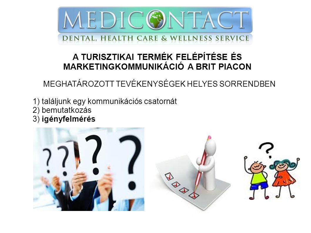 A TURISZTIKAI TERMÉK FELÉPÍTÉSE ÉS MARKETINGKOMMUNIKÁCIÓ A BRIT PIACON MEGHATÁROZOTT TEVÉKENYSÉGEK HELYES SORRENDBEN 1) találjunk egy kommunikációs csatornát 2) bemutatkozás 3) igényfelmérés