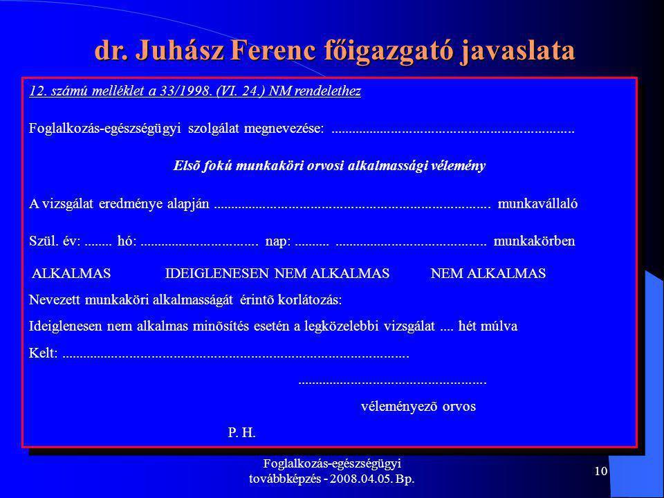 Foglalkozás-egészségügyi továbbképzés - 2008.04.05. Bp. 10 dr. Juhász Ferenc főigazgató javaslata 12. számú melléklet a 33/1998. (VI. 24.) NM rendelet
