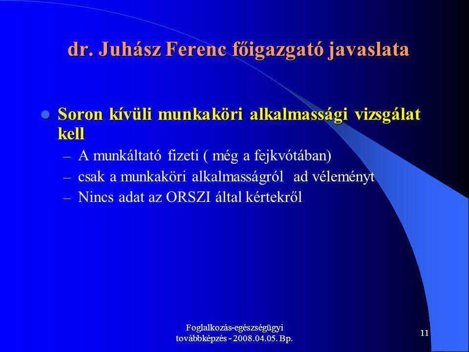 Foglalkozás-egészségügyi továbbképzés - 2008.04.05. Bp. 11 dr. Juhász Ferenc főigazgató javaslata Soron kívüli munkaköri alkalmassági vizsgálat kell S