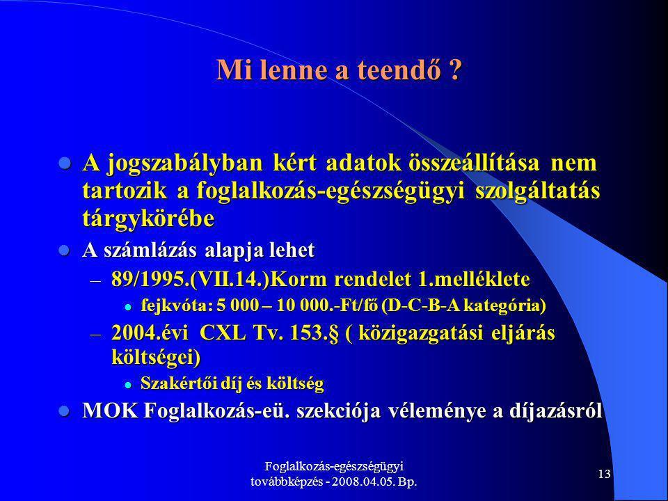 Foglalkozás-egészségügyi továbbképzés - 2008.04.05. Bp. 13 Mi lenne a teendő ? A jogszabályban kért adatok összeállítása nem tartozik a foglalkozás-eg