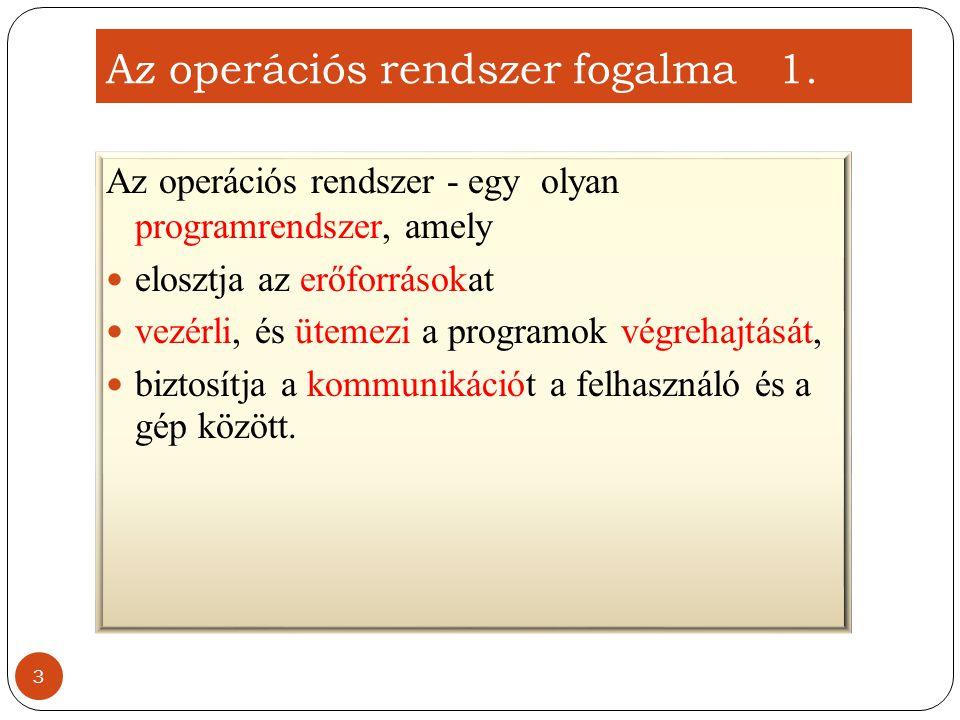 Az operációs rendszer felépítése (egyszerűsített) 14 Kernel (rendszer mag) Shell (héj)