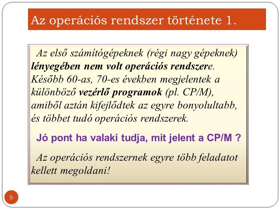 Az operációs rendszer feladatai 1.A felhasználói felület biztosítása 2.