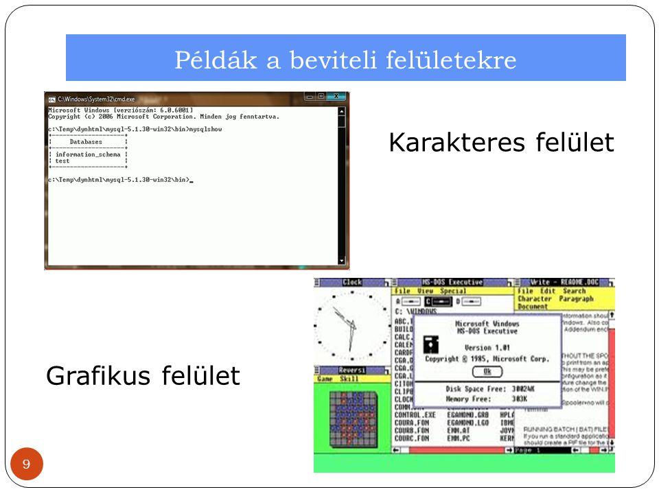 Az operációs rendszer csoportosítása 2.Feldolgozás alapján: (magyarázat később!) 1.