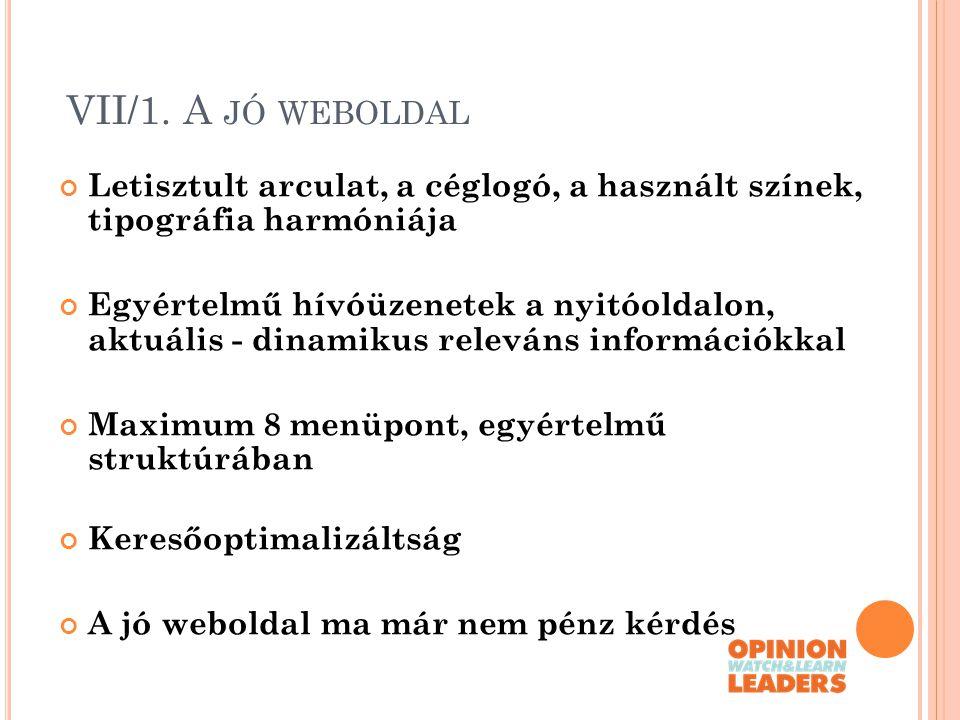 VII/1. A JÓ WEBOLDAL Letisztult arculat, a céglogó, a használt színek, tipográfia harmóniája Egyértelmű hívóüzenetek a nyitóoldalon, aktuális - dinami