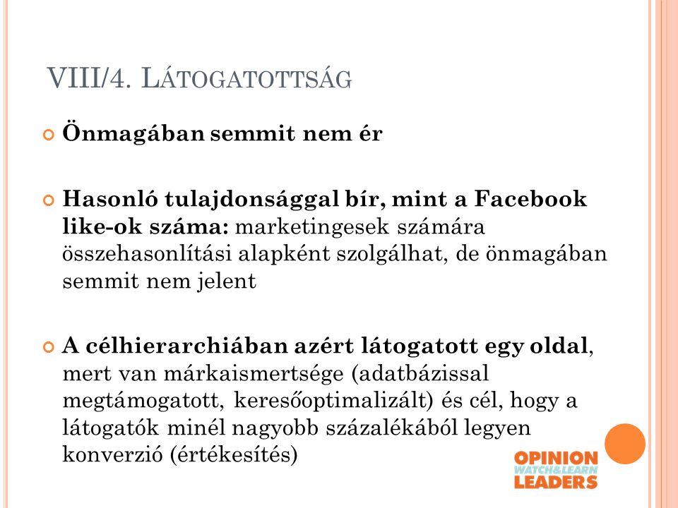 VIII/4. L ÁTOGATOTTSÁG Önmagában semmit nem ér Hasonló tulajdonsággal bír, mint a Facebook like-ok száma: marketingesek számára összehasonlítási alapk