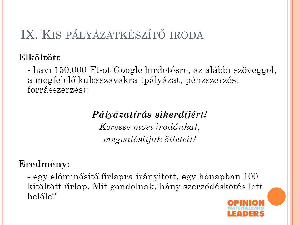 IX. K IS PÁLYÁZATKÉSZÍTŐ IRODA Elköltött - havi 150.000 Ft-ot Google hirdetésre, az alábbi szöveggel, a megfelelő kulcsszavakra (pályázat, pénzszerzés