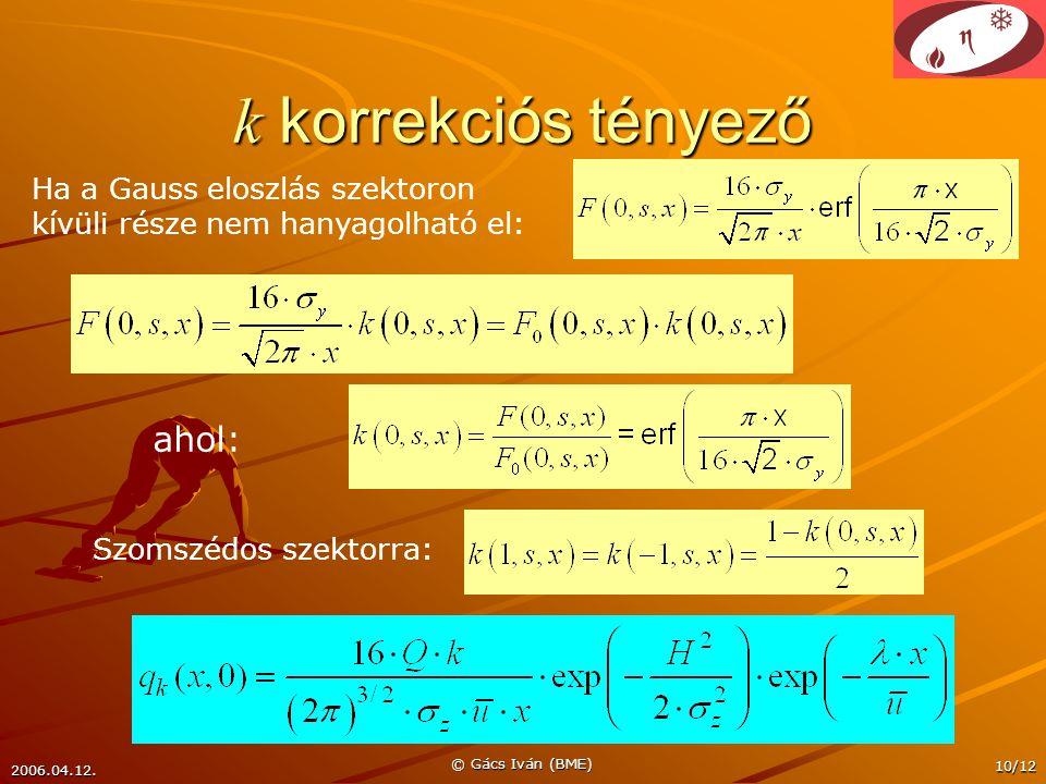 2006.04.12. © Gács Iván (BME) 10/12 k korrekciós tényező Ha a Gauss eloszlás szektoron kívüli része nem hanyagolható el: Szomszédos szektorra: ahol: