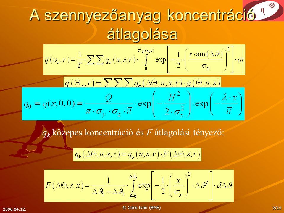 2006.04.12. © Gács Iván (BME) 7/12 A szennyezőanyag koncentráció átlagolása q k közepes koncentráció és F átlagolási tényező: