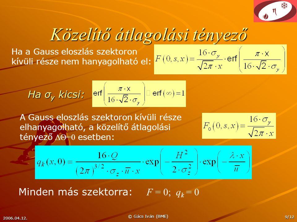 2006.04.12. © Gács Iván (BME) 9/12 Közelítő átlagolási tényező A Gauss eloszlás szektoron kívüli része elhanyagolható, a közelítő átlagolási tényező Δ