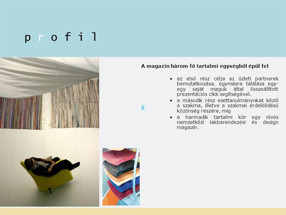 A magazin három fő tartalmi egységből épül fel az első rész célja az üzleti partnerek bemutatkozása, egymásra találása egy- egy saját maguk által összeállított prezentációs cikk segítségével.