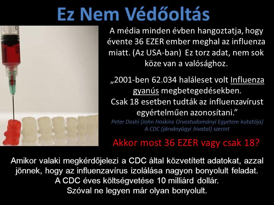 A média minden évben hangoztatja, hogy évente 36 EZER ember meghal az influenza miatt.