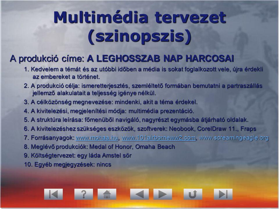 Multimédia tervezet (szinopszis) A produkció címe: A LEGHOSSZAB NAP HARCOSAI 1. Kedvelem a témát és az utóbbi időben a média is sokat foglalkozott vel