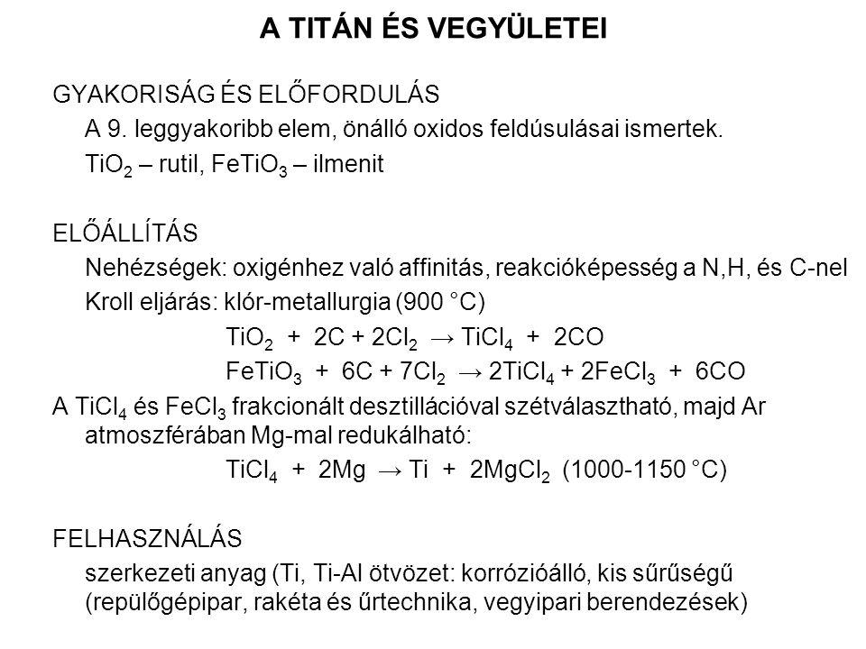 A TITÁN ÉS VEGYÜLETEI GYAKORISÁG ÉS ELŐFORDULÁS A 9.