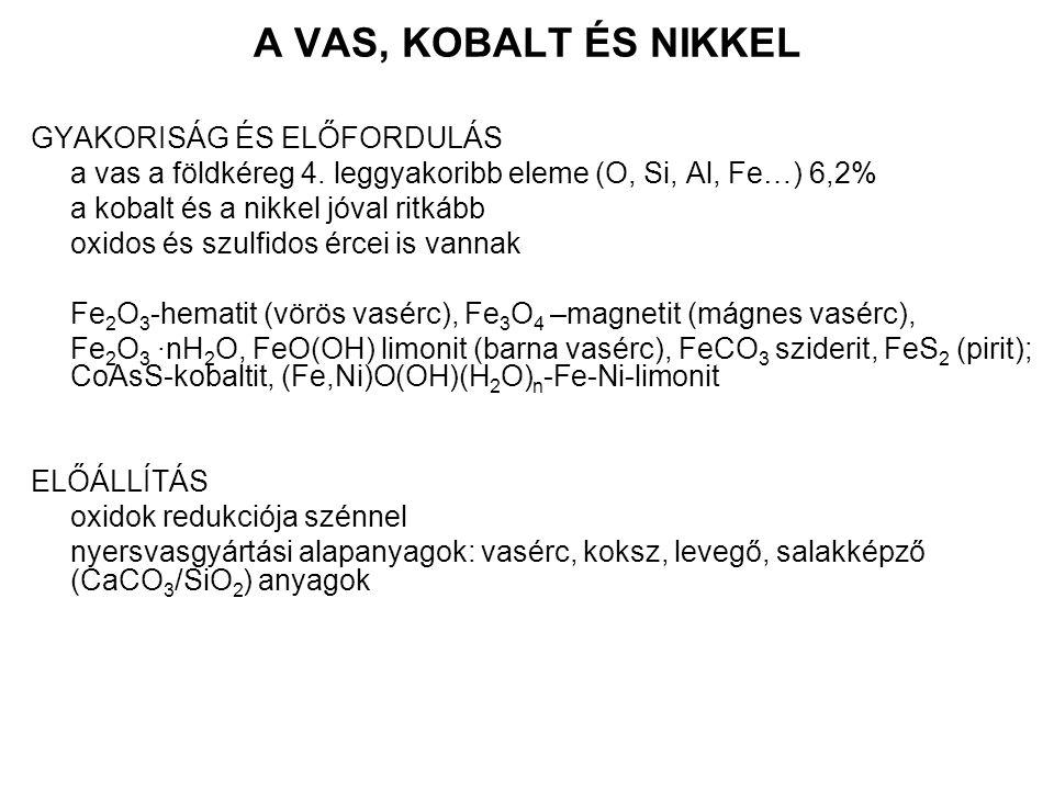 A VAS, KOBALT ÉS NIKKEL GYAKORISÁG ÉS ELŐFORDULÁS a vas a földkéreg 4. leggyakoribb eleme (O, Si, Al, Fe…) 6,2% a kobalt és a nikkel jóval ritkább oxi