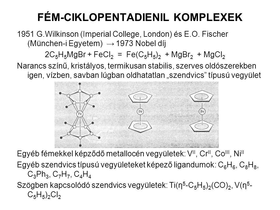 FÉM-CIKLOPENTADIENIL KOMPLEXEK 1951 G.Wilkinson (Imperial College, London) és E.O. Fischer (München-i Egyetem) → 1973 Nobel díj 2C 5 H 5 MgBr + FeCl 2