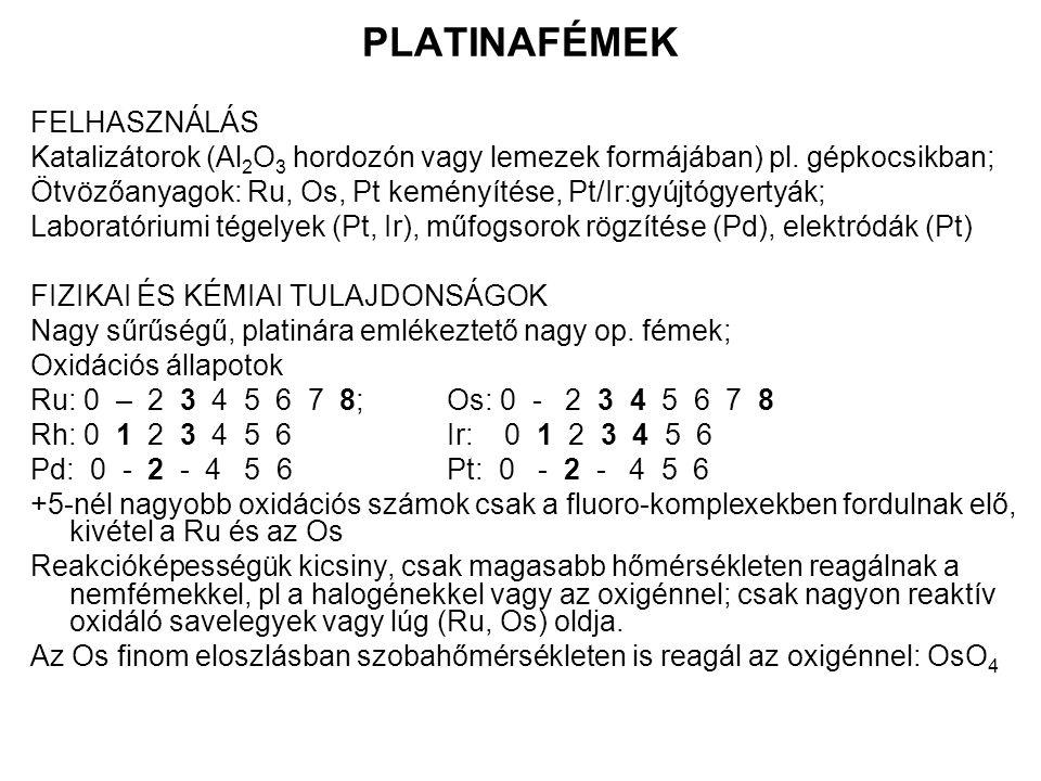 PLATINAFÉMEK FELHASZNÁLÁS Katalizátorok (Al 2 O 3 hordozón vagy lemezek formájában) pl.