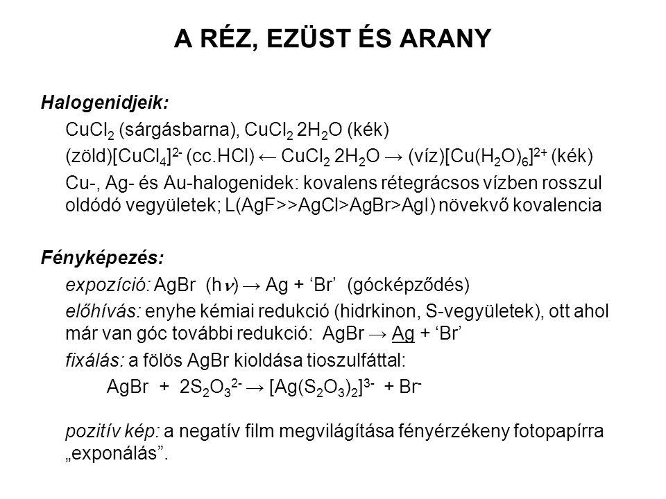 """A RÉZ, EZÜST ÉS ARANY Halogenidjeik: CuCl 2 (sárgásbarna), CuCl 2 2H 2 O (kék) (zöld)[CuCl 4 ] 2- (cc.HCl) ← CuCl 2 2H 2 O → (víz)[Cu(H 2 O) 6 ] 2+ (kék) Cu-, Ag- és Au-halogenidek: kovalens rétegrácsos vízben rosszul oldódó vegyületek; L(AgF>>AgCl>AgBr>AgI) növekvő kovalencia Fényképezés: expozíció: AgBr (h ) → Ag + 'Br' (gócképződés) előhívás: enyhe kémiai redukció (hidrkinon, S-vegyületek), ott ahol már van góc további redukció: AgBr → Ag + 'Br' fixálás: a fölös AgBr kioldása tioszulfáttal: AgBr + 2S 2 O 3 2- → [Ag(S 2 O 3 ) 2 ] 3- + Br - pozitív kép: a negatív film megvilágítása fényérzékeny fotopapírra """"exponálás ."""